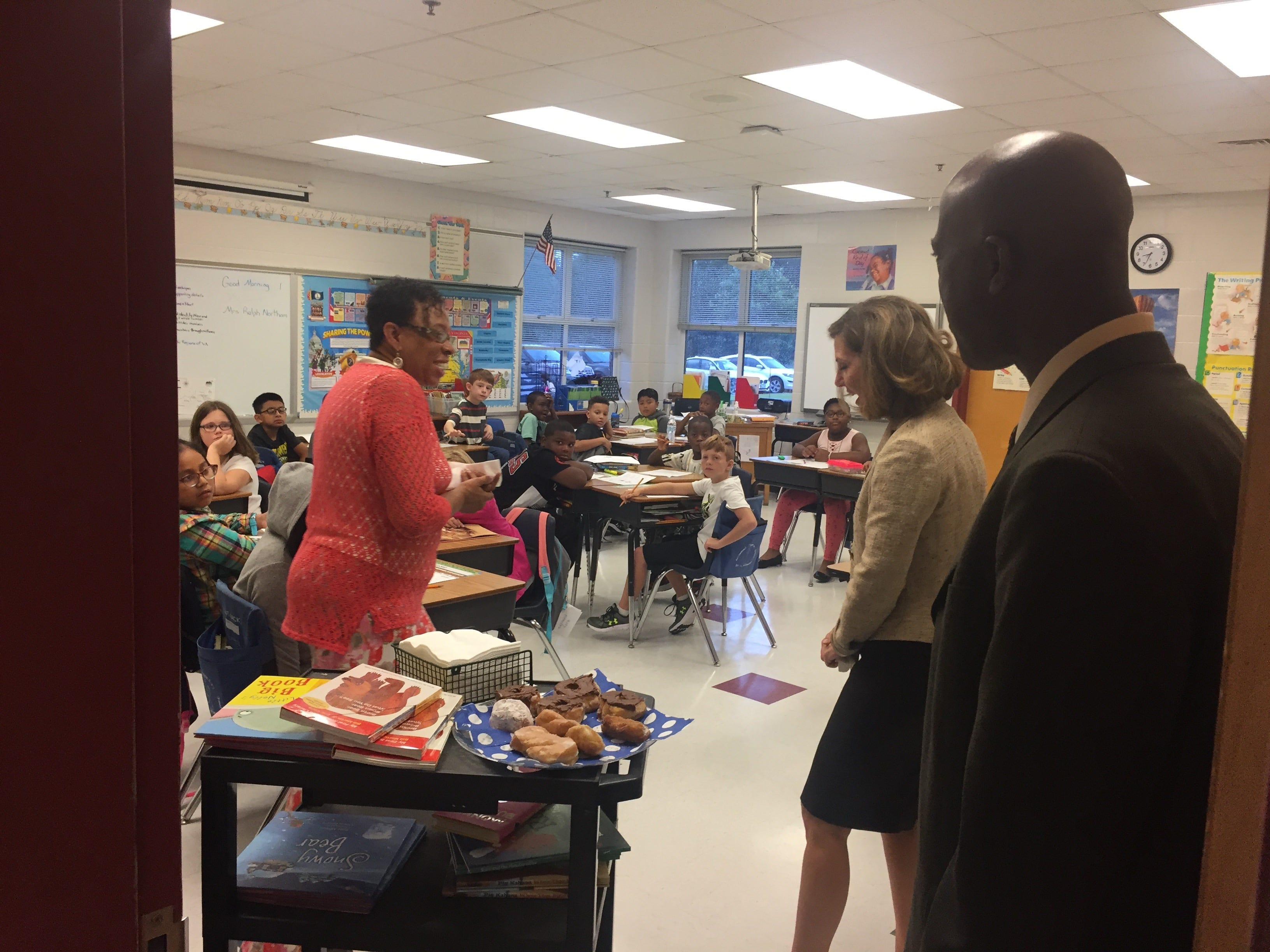 Virginia First Lady visits the classroom of Sheila Walker as principal Javan Thompson looks on at Accawmacke Elementary School in Daugherty, Virginia on Monday, Sept. 20, 2018.