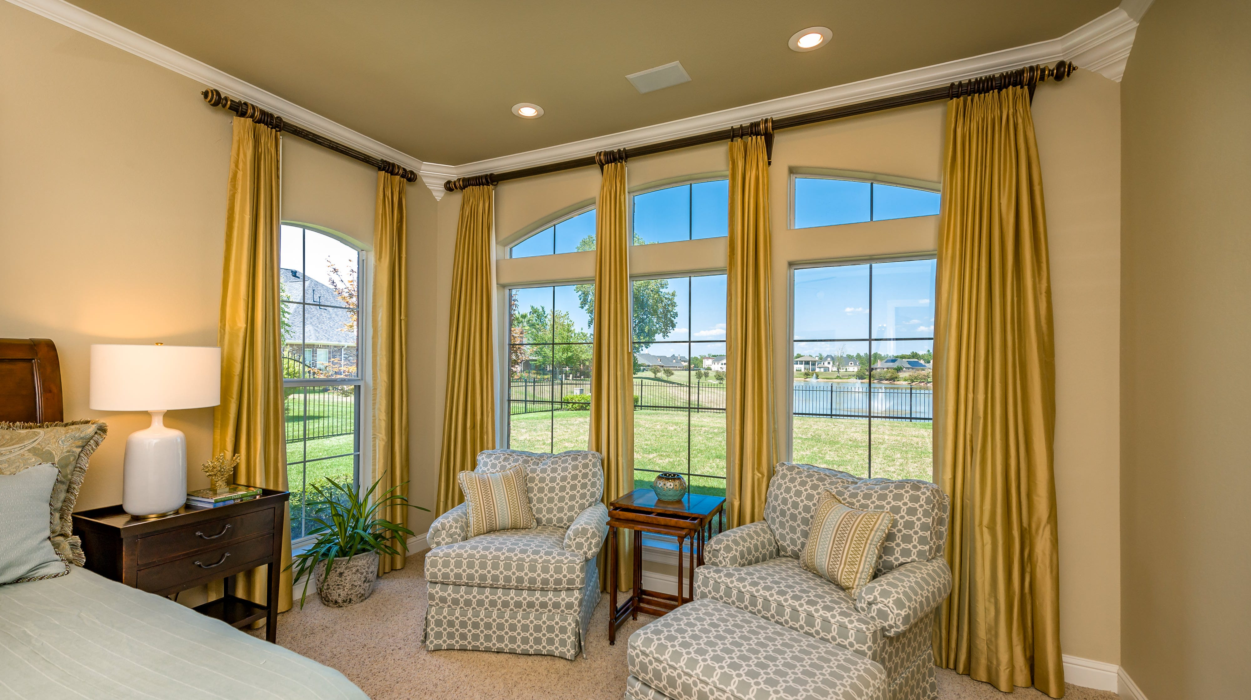 Most windows in the home allow for a water view.