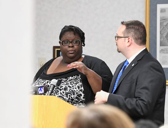Charm Bullard and Jonathan Zur from the Virginia Center for Inclusive Communities speak to the Staunton City School Board