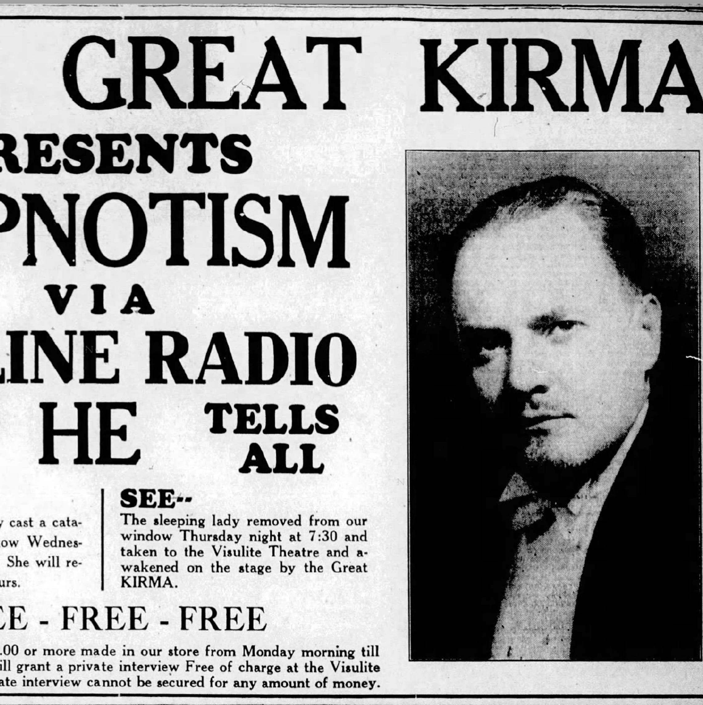 The Great Kirma wowed Staunton audiences in 1937