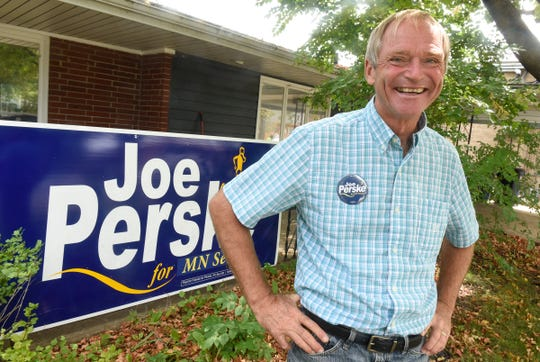 Joe Perske smiles in front of his campaign headquarters Monday, Sept. 10, in St. Joseph. Perske is facing Jeff Howe for state senate this fall.