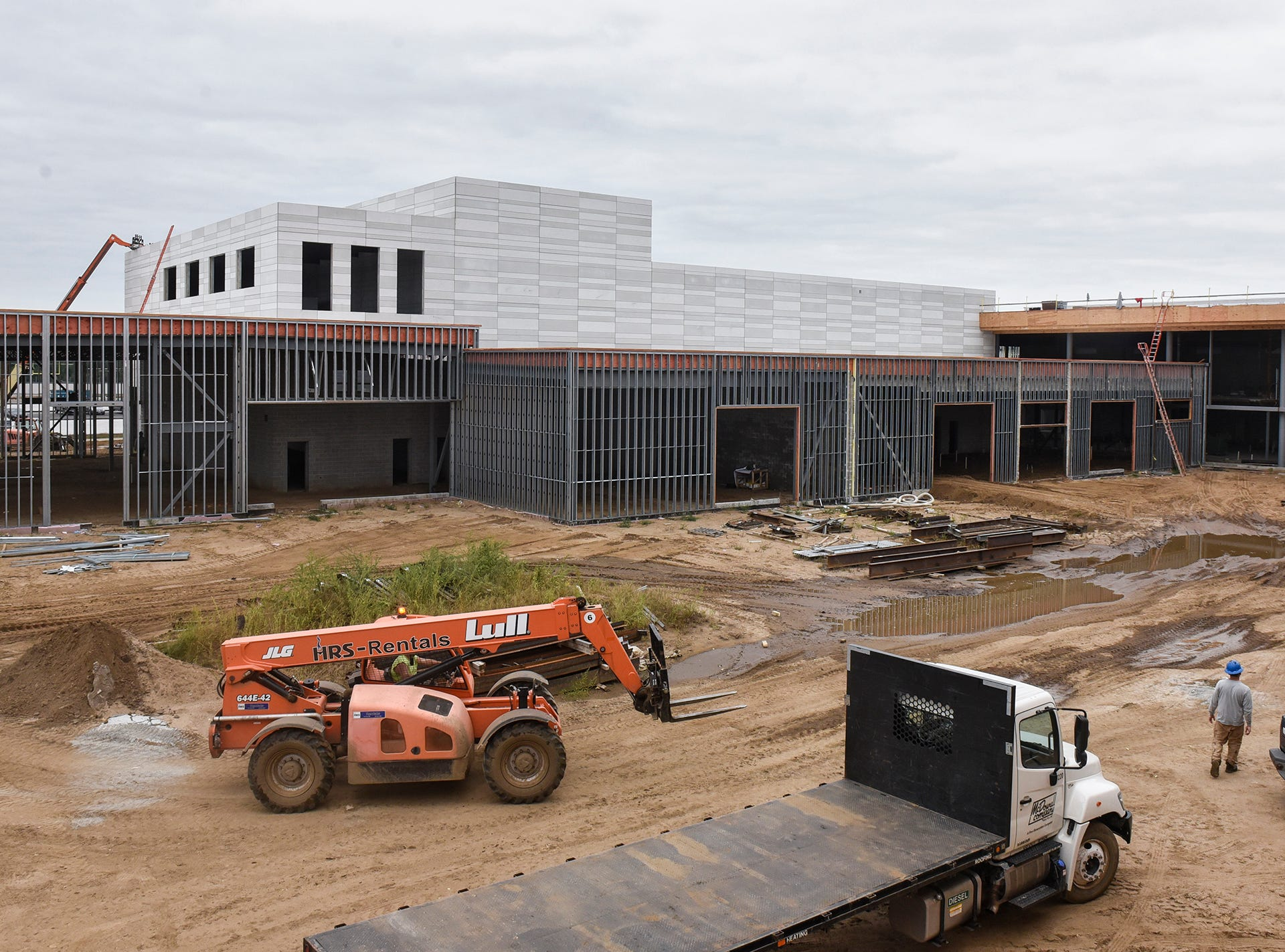 The outside of the auditorium is pictured Monday, Sept. 10, at the new Tech High School site in St. Cloud.