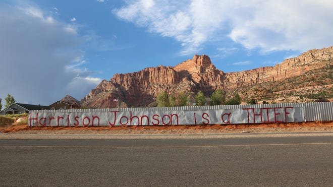 Thomas Steed said he posted a sign calling Hildale Utility Business Manager Harrison Johnson a thief after Johnson and other city employees took a propane tank from the Steed family's property Sept. 4, 2018. Johnson said records show the tank belongs to the city.