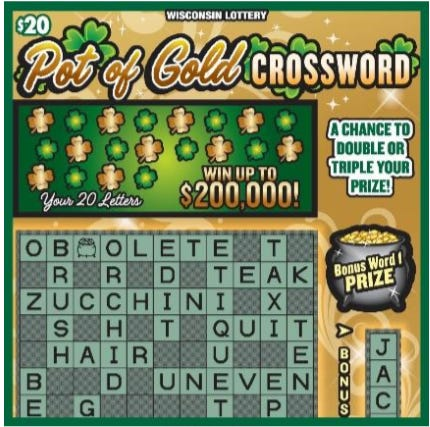 Wisconsin Lottery's Pot of Gold Crossword scratch game ticket.