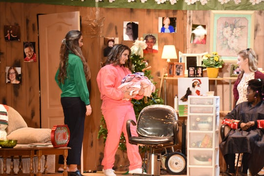 Ashley Campbell (center) as Shelby in Leon High School's fall production of Steel Magnolias. Also pictured are Tia Huettel, Sarah Boggs and Zira Brown.