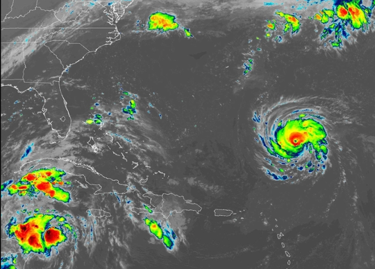 Hurricane Florence and two tropical waves 6 a.m. Sept. 10, 2018.