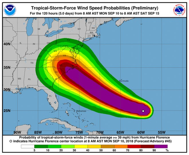 Hurricane Florence wind probabilities 11 a.m. Sept. 10, 2018.