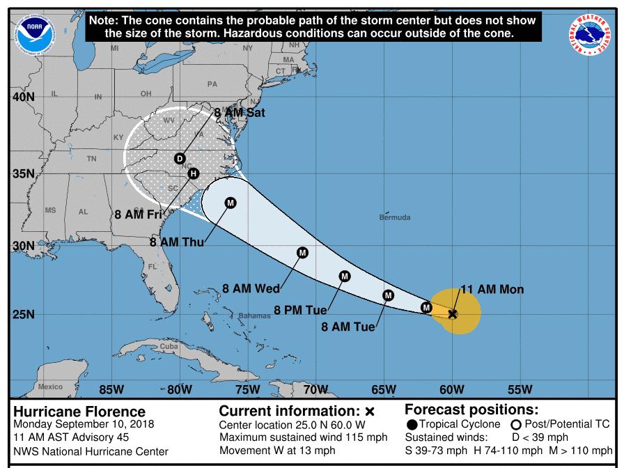 Hurricane Florece 11 a.m. Sept. 10, 2018