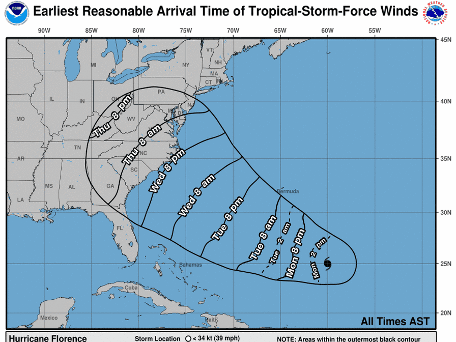 Hurricane Florence wind timing 11 a.m. Sept. 10, 2018.