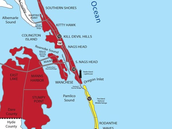 Evacuation orders in Dare County on the Outer Banks in North Carolina as Hurricane Florence approaches Sept. 10 2018.