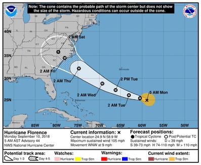 Hurricane Florence 5 a.m. Sept. 10, 2018