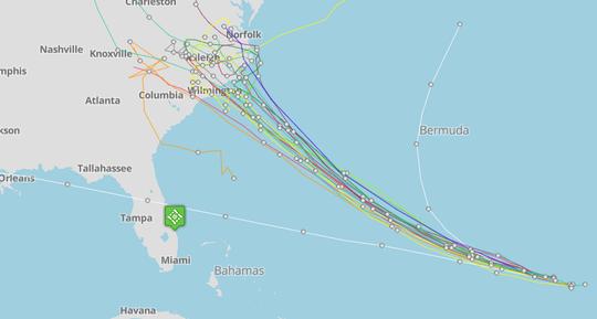 Hurricane Florence forecast tracks 11 a.m. Sept. 10, 2018.