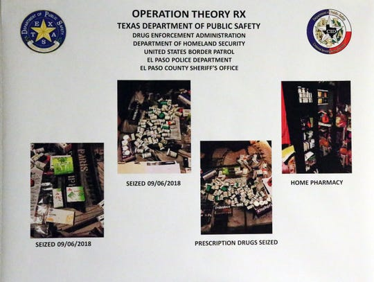 A poster showing Operation Theory RX at the Drug Enforcement Administration El Paso division offices Monday.