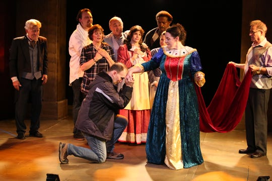 """Cast members from """"Inspecting Carol"""" at Hillcrest Center for the Arts in Thousands Oaks."""