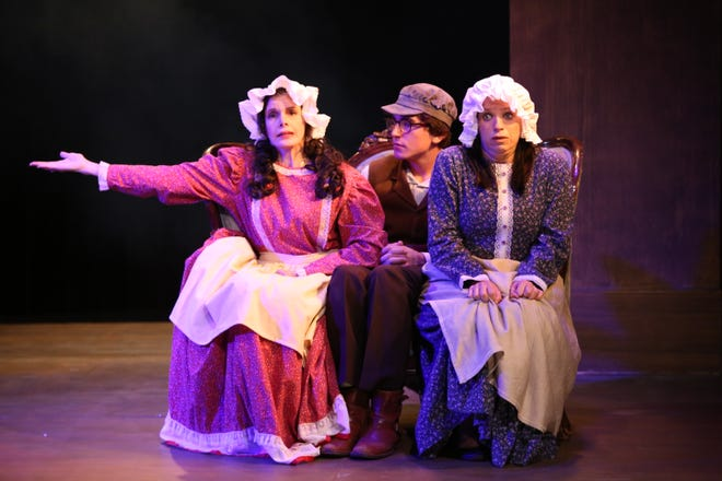 """Vivien Latham as Dorothy Tree-Hapgood, Sam Herbert as Bart Frances and Melissa Strauss as MJ Mary Jane McMann perform in """"Inspecting Carol"""" at Hillcrest Center for the Arts in Thousand Oaks."""