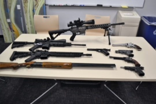 Illegal weapons seized by sheriff's personnel.