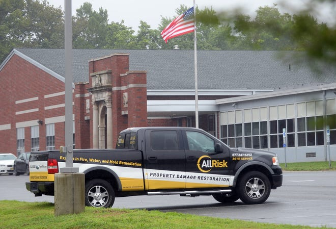 Cleary elementary school was closed for emergency air-quality tests. A service truck belonging to a company that handles mold remediation is seen in the school parking lot on Monday, September 10.