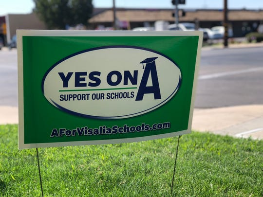 A vote yes on Measure A sign can be seen from Murray Avenue in Visalia.