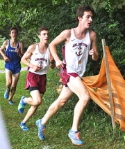 Arlington runners Tyler Locke (r) and Daniel Caso (l) on Big Red course during boys D-1 race