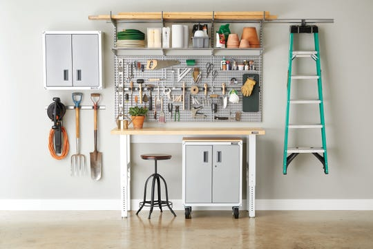 The Container Store's ELFA storage systems spiff up space in the garage including everything from gardening gear to spare groceries.