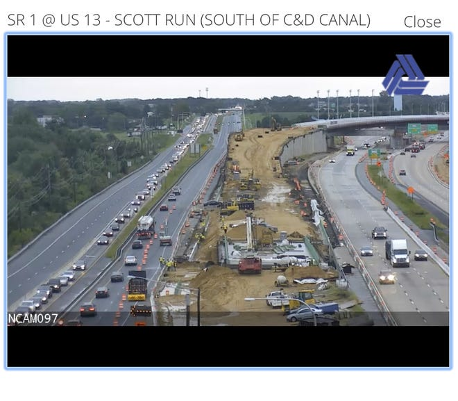 Traffic heading onto Del. 1 from U.S. 13 was backed up the first day the St. Georges Bridge was closed for work.