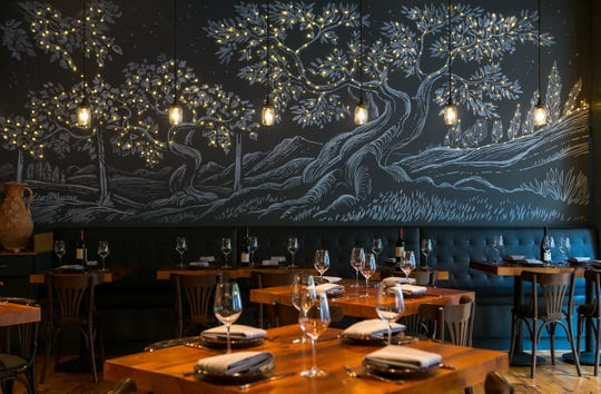 A lighted goddess garden mural adorns the new Bardea Food & Drink, an Italian restaurant on N. Market Street in downtown Wilmington, as new owners Scott Stein and Chef Antimo DiMeo prepare for the opening.