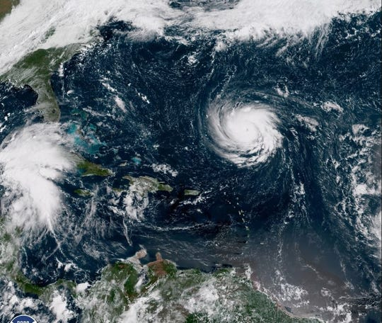 Hurricane Florence can be seen headed toward the East Coast in this satellite image Monday morning.