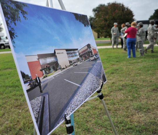 An artist rendering of the soon-to-be-constructed 82nd Medical Group Medical Treatment Facility was displayed during a groundbreaking ceremony held where the facility will be built.