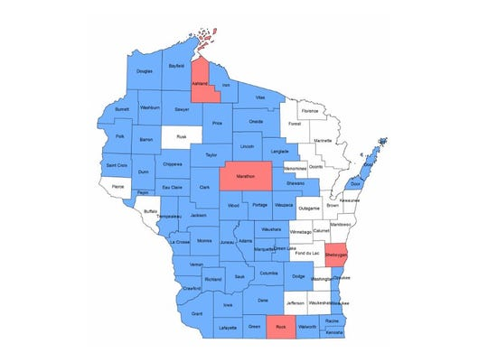 The GLEDN County Challenge continues! Complete the County Challenge by being the first person to submit a report from a Wisconsin county! The map below shows counties from which we've received first reports in January – July 2018; counties in red had first reports in August.