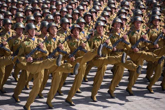 Korean People's Army soldiers goose step during a mass rally on Kim Il Sung square in Pyongyang on Sept. 9, 2018. North Korea, a dictatorship, held the military parade to mark its 70th birthday.
