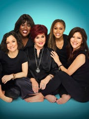 """The Talk"" co-host, left to right: Sara Gilbert, Sheryl Underwood, Sharon Osbourne, Eve and Julie Chen."