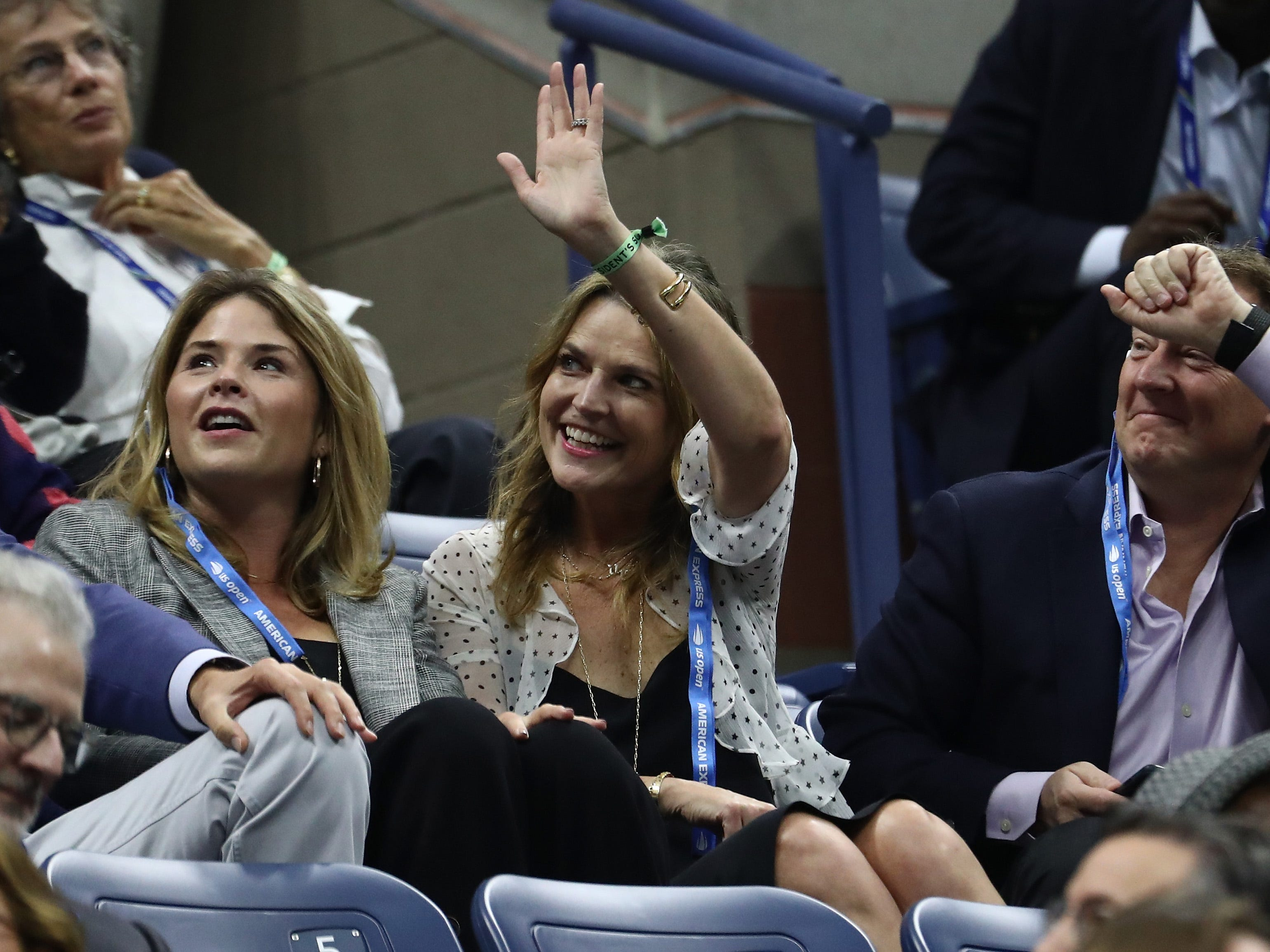 "Former First Daughter Jenna Bush Hager, left, and ""Today"" host Savannah Guthrie watch the men's final between Novak Djokovic and Juan Martin del Potro."