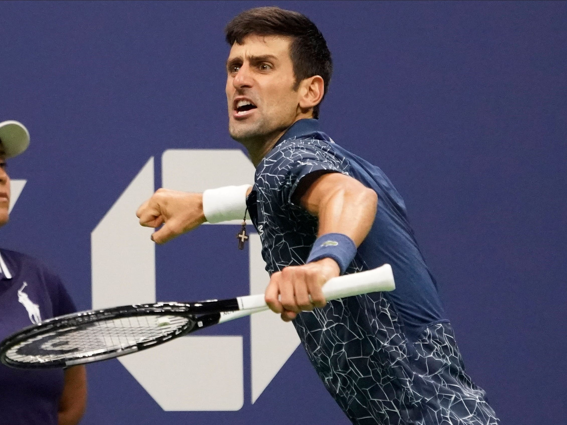 Novak Djokovic gets fired up after a big point against Juan Martin del Potro.