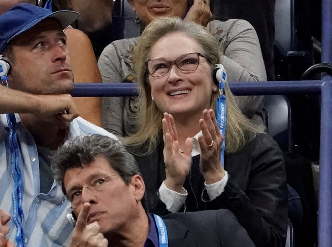 Actress Meryl Streep watches the men's final between Novak Djokovic and Juan Martin del Potro.