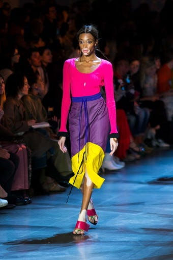 NEW YORK, NY - SEPTEMBER 09:  Winnie Harlow walks the runway during the Prabal Gurung fashion show during New York Fashion Week: The Shows at Gallery I at Spring Studios on September 9, 2018 in New York City.  (Photo by Michael Stewart/WireImage) ORG XMIT: 775217692 ORIG FILE ID: 1030141418