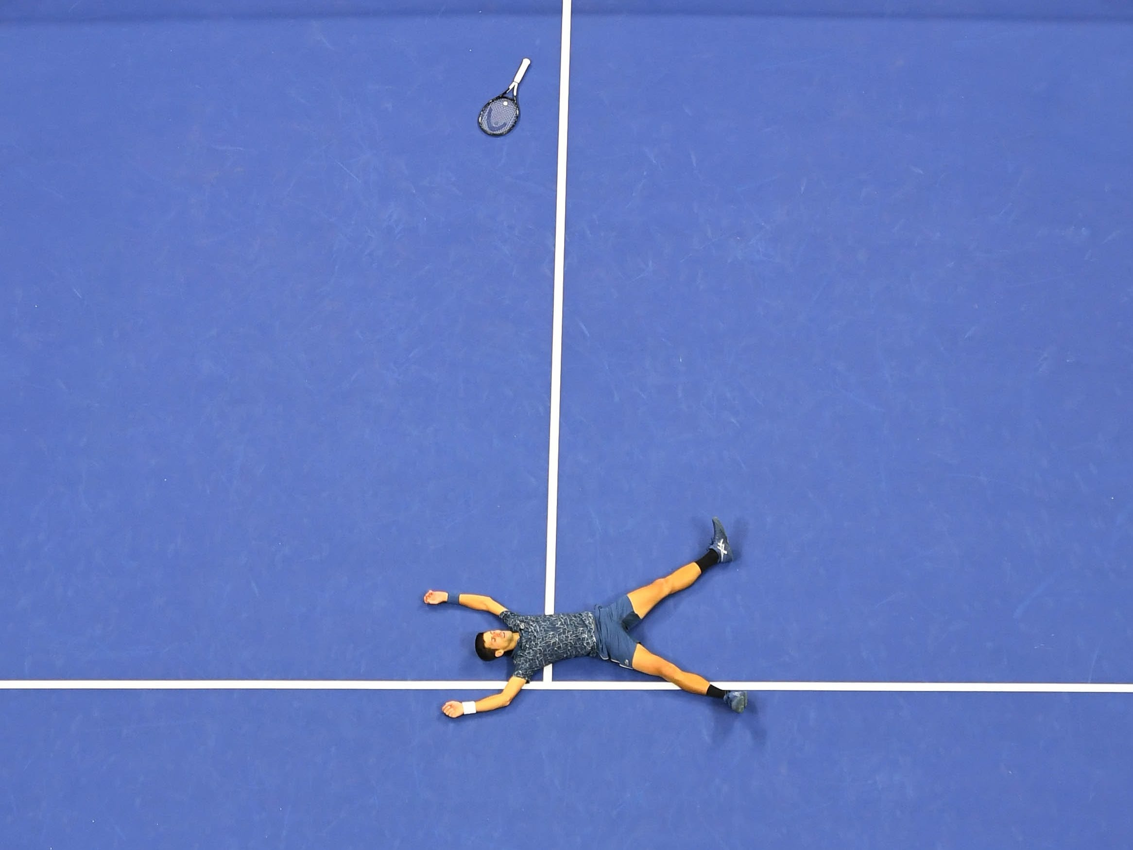 Novak Djokovic celebrates after defeating Juan Martin del Potro.