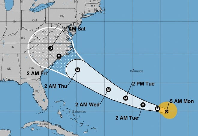 This map shows the projected path for Hurricane Florence as issued by the National Hurricane Center on Sept. 10, 2018.