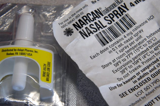 Schools in Anne Arundel County, Maryland, and across the country are stocking up on the overdose drug naloxone, shown here as the nasal spray Narcan, as one way of confronting the opioid epidemic.  Schools are training nurses and other staff to respond to overdoses of heroin and fentanyl.