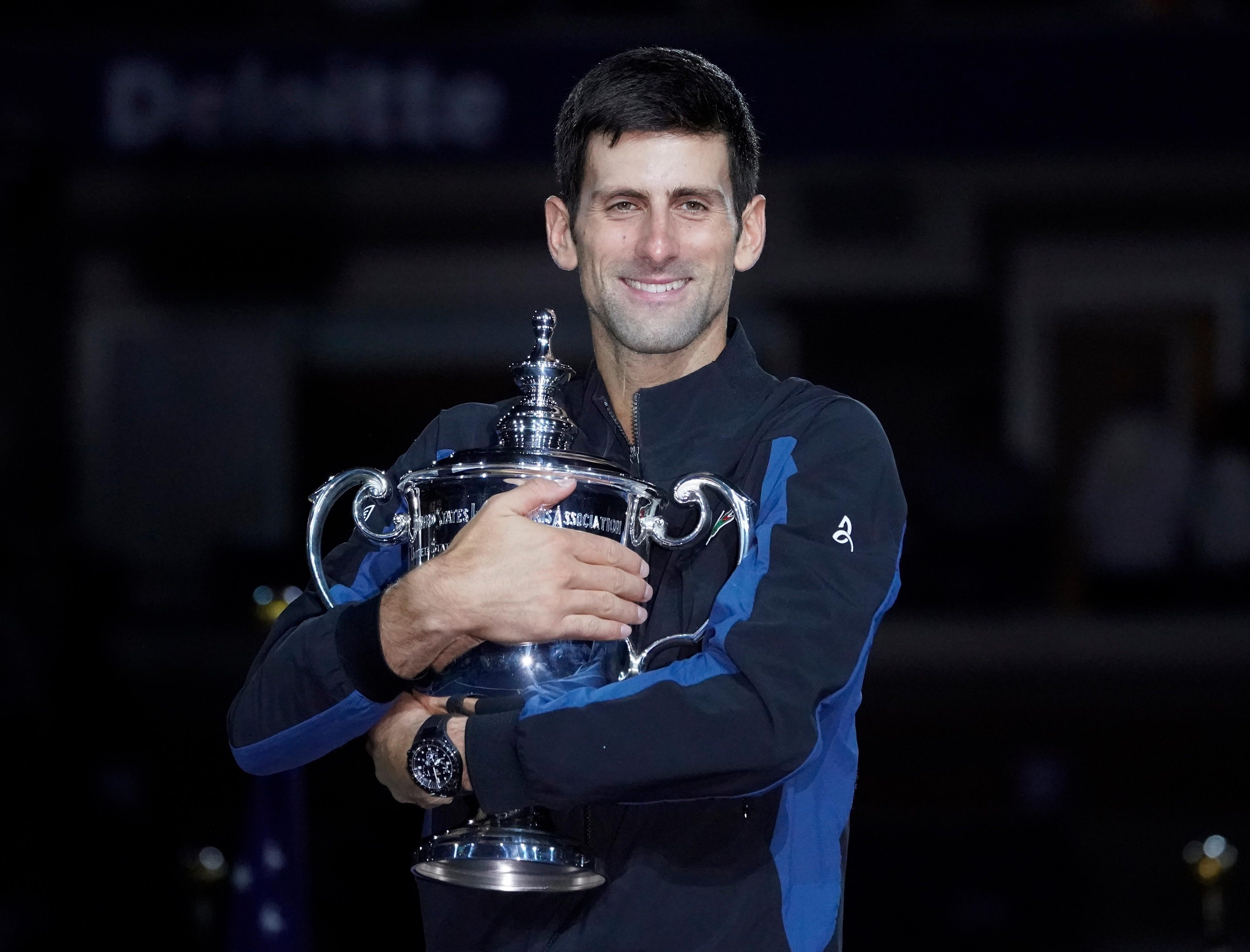 Novak Djokovic celebrates after defeating Juan Martin del Potro to win the US Open final.