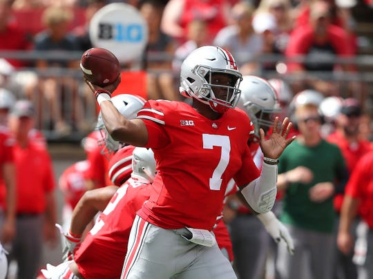 In his first two games as Ohio State's starting QB, Dwayne Haskins has completed 42 of 53 pass attempts for 546 yards and nine touchdowns.