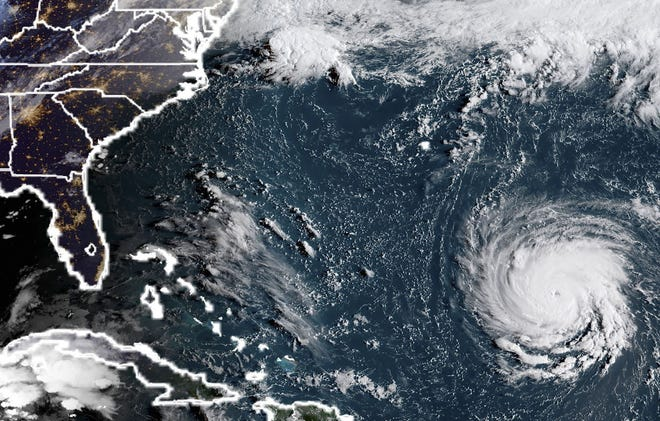 This NOAA/RAMMB satellite image taken on Sept. 10, 2018, shows Hurricane Florence off the East Coast in the Atlantic.
