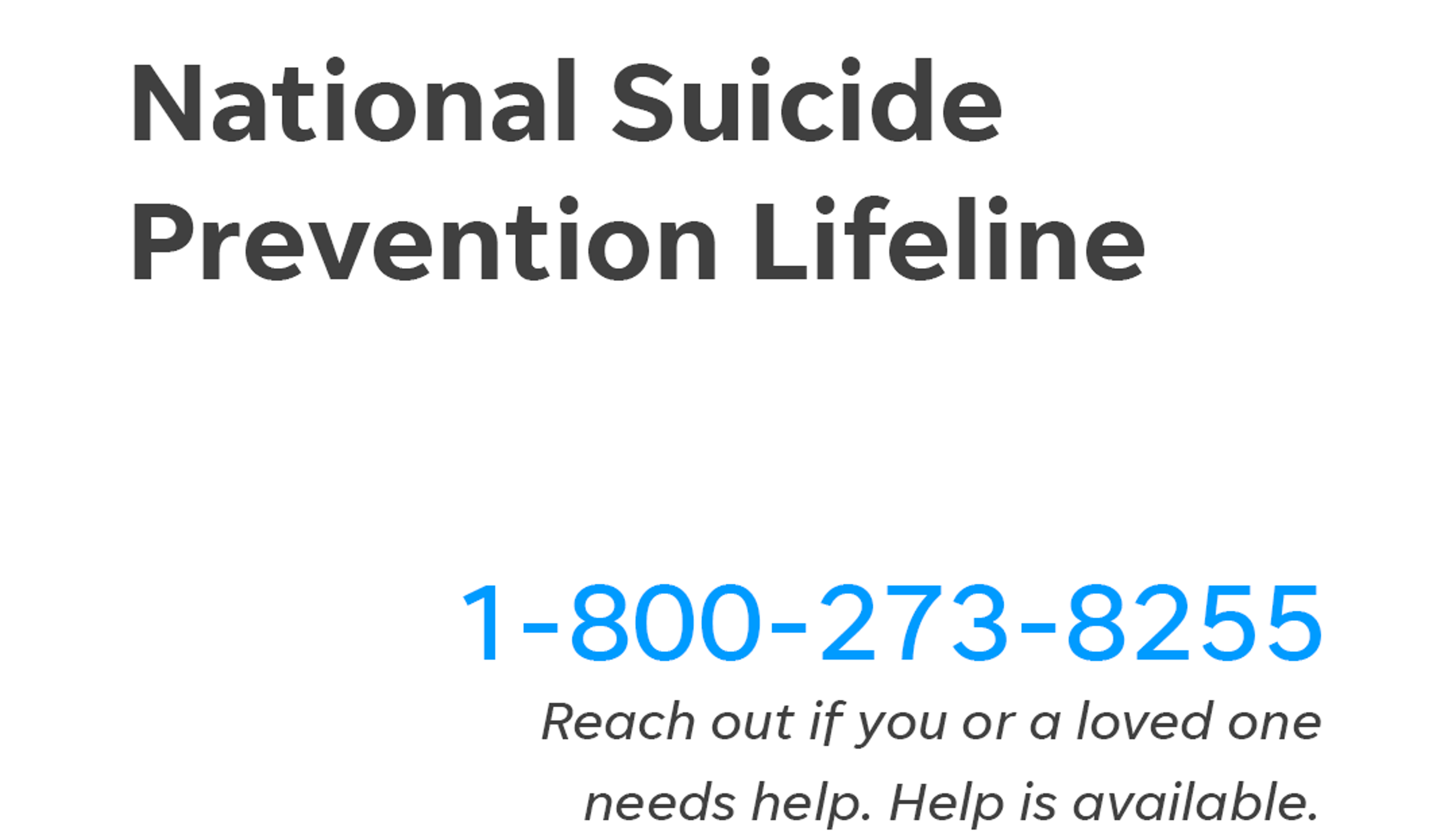 Suicide hotline: What calling the national prevention