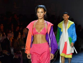 Bella Hadid turned heads in vivid color at the Prabal Gurung Spring/Summer 2019 show.