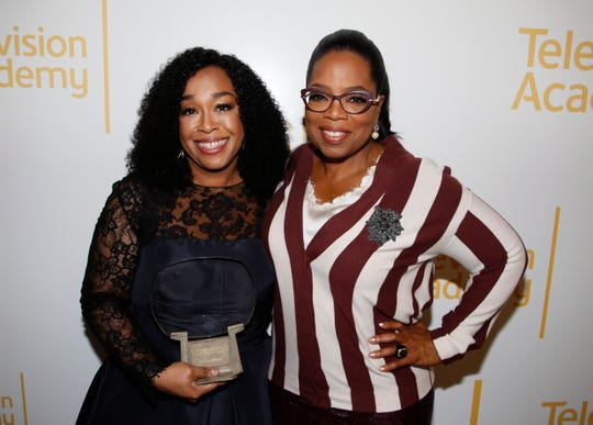 Two of the most powerful women in Hollywood, Shonda Rhimes and Oprah Winfrey at the 24th Television Academy Hall of Fame on Nov. 15, 2017 in North Hollywood, Calif. ) ORG XMIT: CALB102