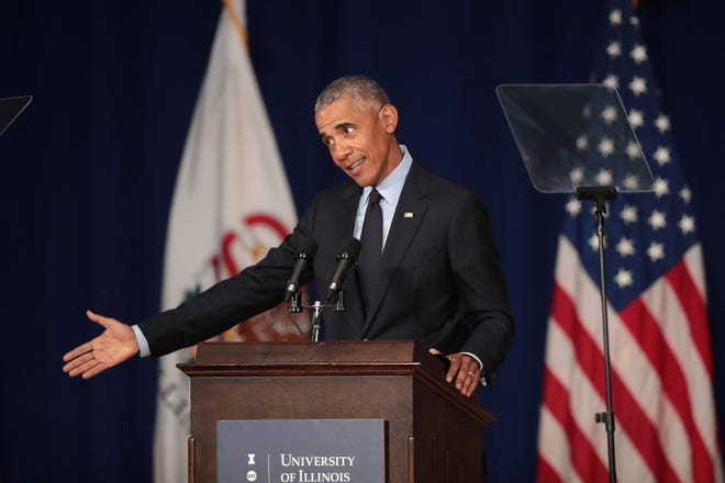 Former President Barack Obama at the University of Illinois on Sept. 7, 2018.