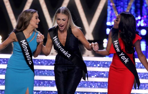 Miss Nebraska Jessica Shultis reacts as she makes the final ten during the Miss America 2019 show.