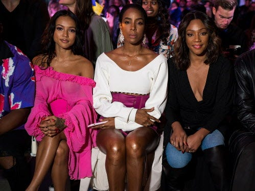 NEW YORK, NY - SEPTEMBER 09:  (L-R) Karrueche Tran, Kelly Rowland and Tiffany Haddish attend the Prabal Gurung fashion show during New York Fashion Week: The Shows at Gallery I at Spring Studios on September 9, 2018 in New York City.  (Photo by Michael Stewart/WireImage) ORG XMIT: 775218362 ORIG FILE ID: 1030140932