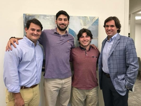 (From left) Attorney Ben Dampf, Brandon Michot, Tyler Matthews and Attorney J.R.  Whaley.