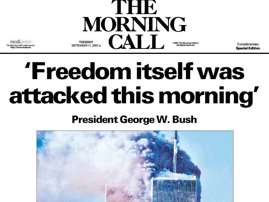 This is the front of a special edition of The (Allentown) Morning Call in Allentown, Pa., from Tuesday, Sept. 11, 2001. (AP Photo/The Morning Call)