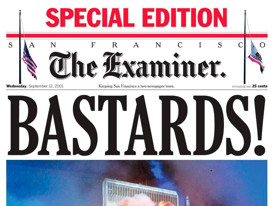 This is the San Francisco Examiner's front page for a Wednesday, Sept. 12, 2001, edition. (AP Photo/The Examiner)